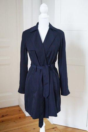 Trenchcoat marineblau navy dunkelblau Vintagelook Taillenband Mantel Jacke M 38