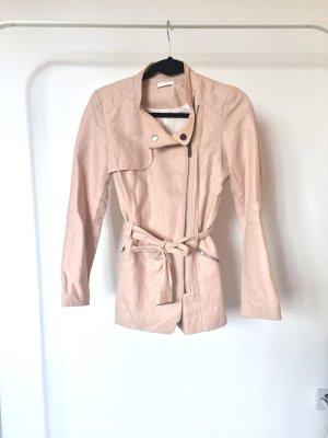 Trenchcoat PROMOD rosa nude mantel kunstleder tailliert
