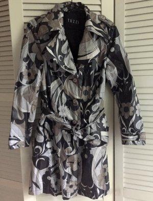 Trenchcoat / Regenmantel TUZZI 38 - beschichteter Baumwoll-Mantel - beige grau schwarz