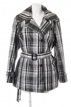 Trench Coat white-black check pattern business style
