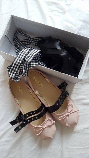 Trend Blogger Lookalike Designer Ballerinas, Bindebänder,  kariert Schnallen