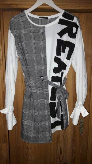 Zara Camicetta lunga nero-bianco Cotone