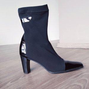 Trend Lackleder Stiefeletten von Gabor Gr 37 schwarze Stretchstiefel Stiefel Echtleder