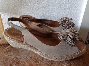 Trend - Leder-Sandaletten / Wedges /Keilabsatz /  Peeptoe  von Omoda