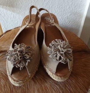 Trend - Leder-Sandaletten / Wedges / Peeptoe - Omoda