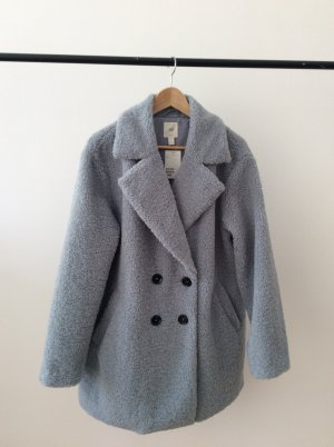 H&M Fake Fur Coat azure-cornflower blue mixture fibre