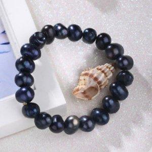 Trend Mode Armband Süßwasser Perlen schwarz schillernd flexibel Damen Schmuck