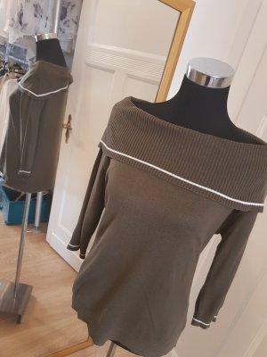 Trendfarbe Khaki: Feiner Strick für die Übergangszeit mit Carmenausschnitt, Gr. 38/40