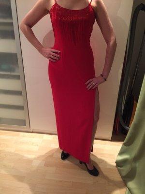 Trendfarbe Rot -  Abendkleid mit Strassteinchen und seitlichem Beinschlitz, Größe 38
