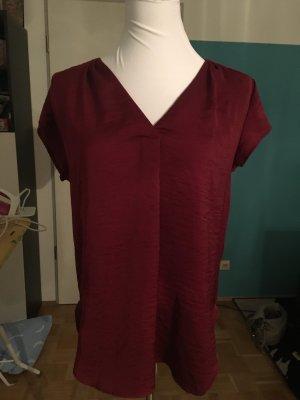Trendfarbe #weinrot Kurzärmlige Bluse mit V-Ausschnitt, H&M, XS
