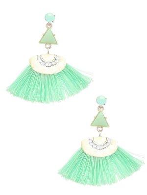 Trendige Boho Chic Lange Ohrringe Stecker Quasten Garn Fäden Kristall Klar Mint Minz Grün 5,3 cm Lang