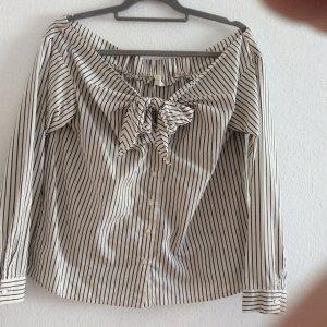H&M Carmen blouse wolwit-zwart Katoen