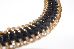 Necklace black-gold-colored