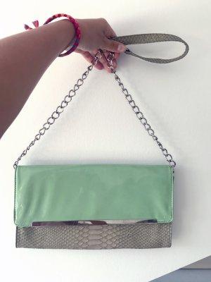 Trendige Handtasche / Schultertasche / Clutch Mintgrün Lack