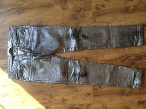 Trendige Jeans Hose in Gold -Silber Look