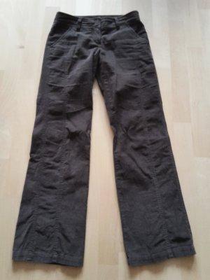 Zero Pantalone di velluto a coste marrone-marrone scuro