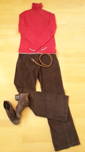 Zero Pantalone di velluto a coste marrone scuro-marrone