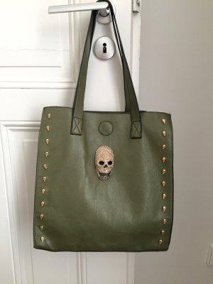 Shopper olive green imitation leather