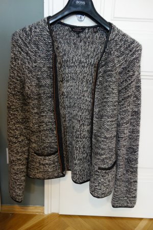 Trendige TED BAKER Wolljacke/ Strickweste, grau mit Kupfer und Lederdetails, Gr. 3 (M), neuwertig