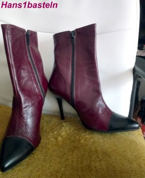 Evita Zipper Booties bordeaux-black leather