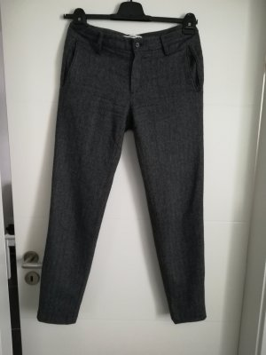Uniqlo Wollen broek zwart-donkergrijs Wol