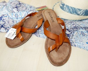 Lazamani Toe-Post sandals cognac-coloured leather