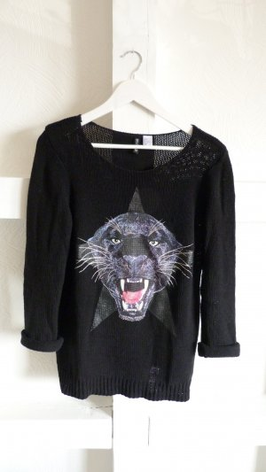 Trendiger Oversized Strick Pullover mit Print