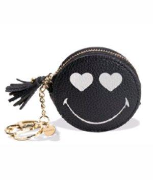 """Trendiger Schlüssel-/ Taschenanhänger, Geldbörse Smiley """"In Love"""" scharz Material: Kunstleder Handgemacht! (Kalaika)."""