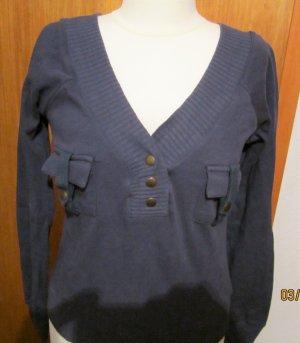 Trendiger Sweatshirtpulli*FOREVER 18*dunkelblau mit Druckknöpfen-Armystyle-Gr.M