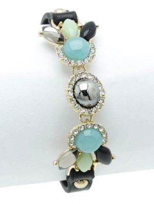 Trendiges Armband Bracelet Leder Schwarz Kristall Klar Transparent Grau Schwarz Minz Mint