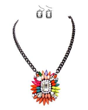 Trendiges Designer Cocktail Ball Abendschmuck Schmuckset Necklace Set Collier Kette Ohrringe Anhänger Multi Farbig Rot Gelb Grün Kristall klar Transparent