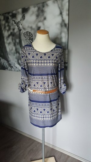 Midi-jurk room-donkerblauw