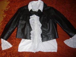 trendiges Leder Bolero mit Schluppe in Größe 36 - Farbe: dunkelbraun