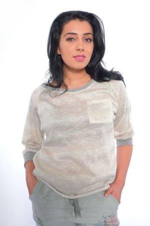 Oversized Shirt oatmeal-light grey mixture fibre