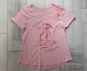 Trendiges Shirt von LIEBLINGSSTÜCK in pink, Statement-Print Flamingo aus Pailetten Gr. S