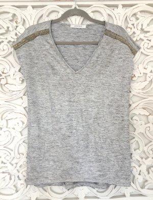 trendiges Shirt von PROMOD in Glanzoptik * silber grau *  Größe S 36 * NEU!