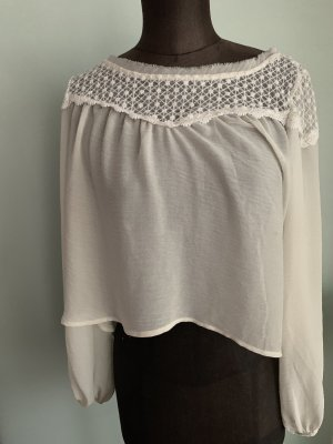 Trendy Bluse Crop Top Chiffon Spitze Gr 34 36 XS
