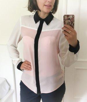 Trendy Bluse in Schwarz/Rosa/Weiß