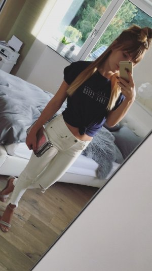 Zara Oversized Shirt white-dark blue