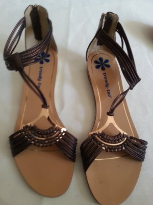 T-Strap Sandals dark brown