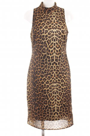 Trevira Halter Dress black-gold orange leopard pattern elegant