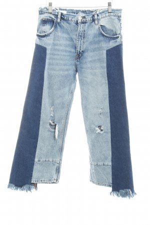TRF Denim 7/8 Jeans dunkelblau-himmelblau Materialmix-Look