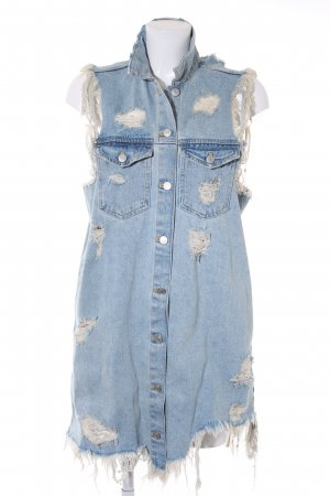 TRF Denim Denim Vest azure distressed style