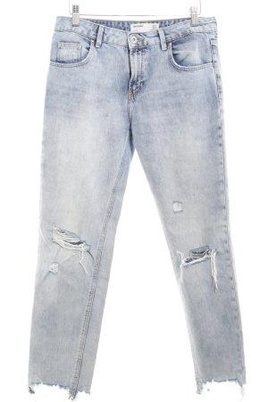 TRF Denim Jeans carotte bleuet style déchiré