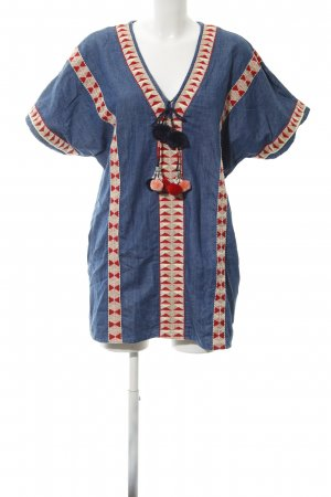 TRF Denim Dress blue Aztec pattern bobble element