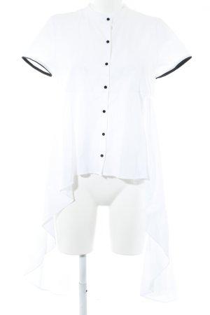 TRF Kurzarm-Bluse schwarz-wollweiß Business-Look