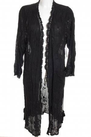 TRF Long Jacket black loosely knitted pattern street-fashion look
