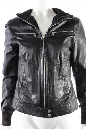 TRF Leather Collection bomber jacket black