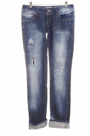TRF Slim Jeans stahlblau Destroy-Optik