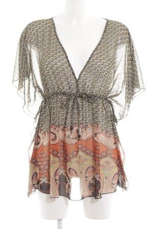 TRF Tunikabluse khaki-hellorange abstraktes Muster Elegant